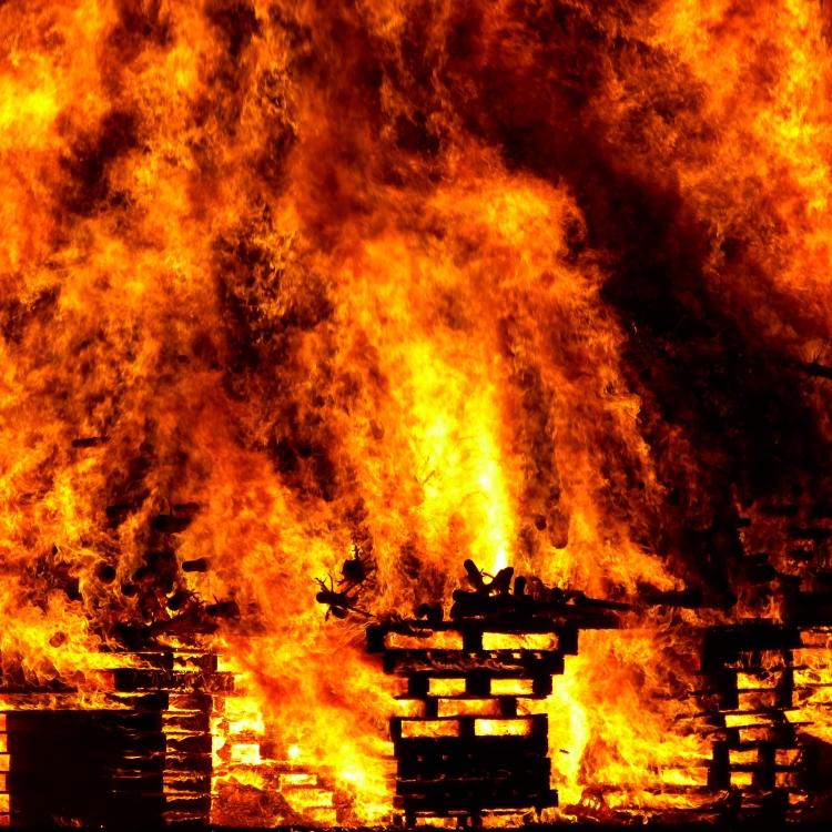 Pallets on fire
